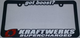 Kraftwerks 838-99-9450 License Plate Frame Got Boost? Supercharged