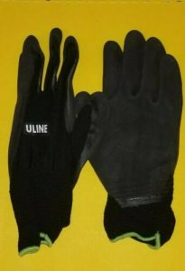 Uline S-15333BL-L Super Gription Flex Latex Coated Black Gloves Large Pair