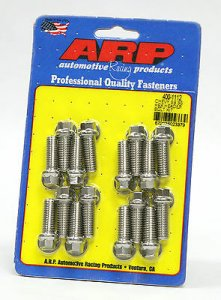 "ARP 400-1112 Header Bolt Kit Stainless Hex Head BB Chevy 3/8""-16 1.0"" UHL (16)"